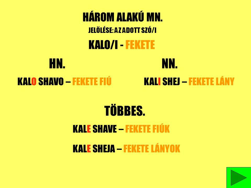 HN. NN. TÖBBES. HÁROM ALAKÚ MN. KALO/I - FEKETE