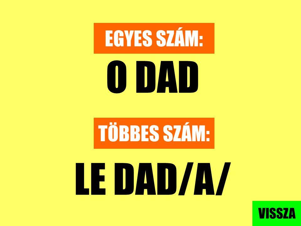 EGYES SZÁM: O DAD TÖBBES SZÁM: LE DAD/A/ VISSZA
