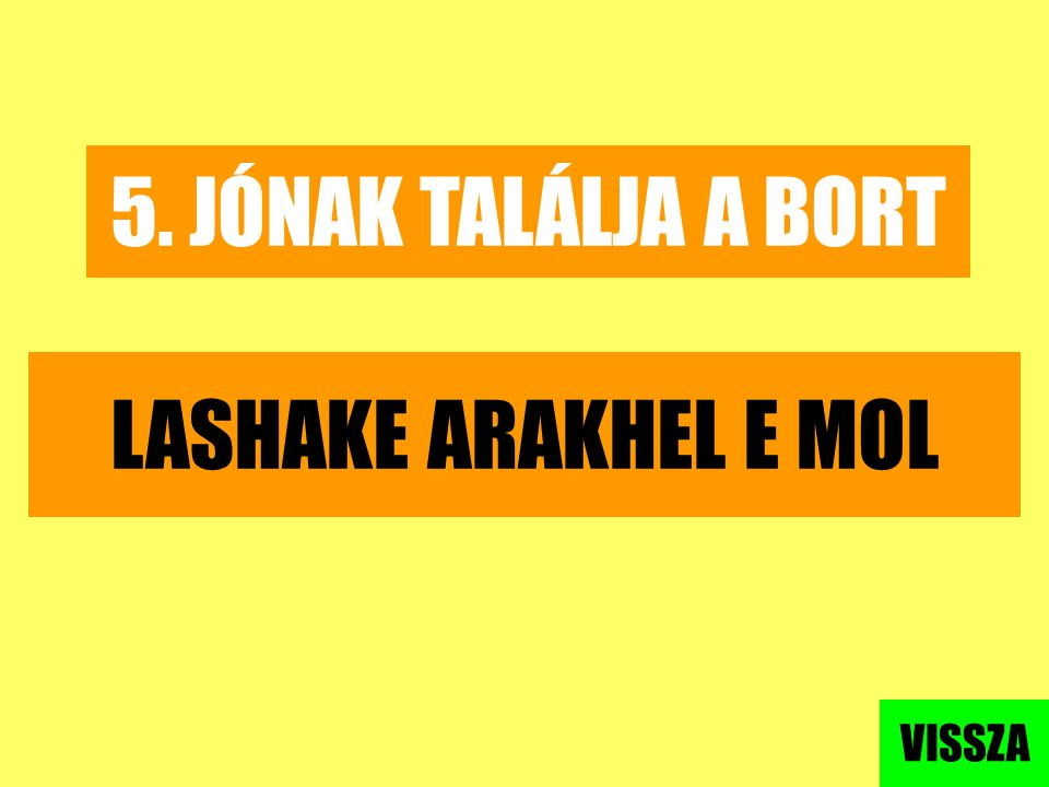 5. JÓNAK TALÁLJA A BORT LASHAKE ARAKHEL E MOL VISSZA