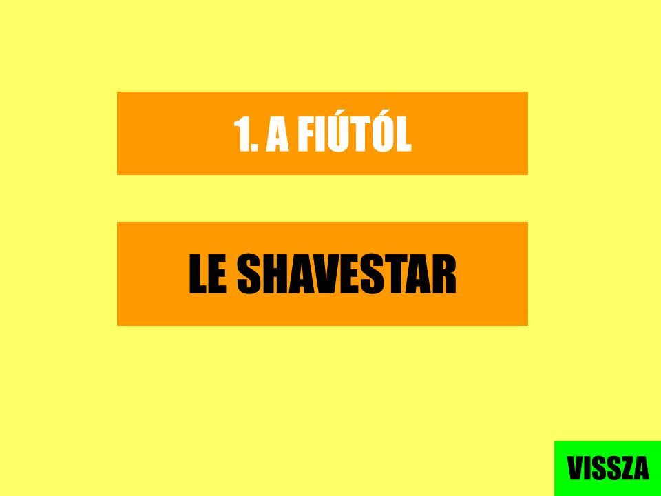 1. A FIÚTÓL LE SHAVESTAR VISSZA