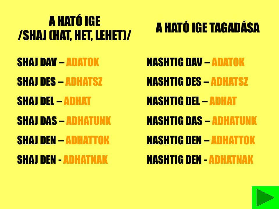 A HATÓ IGE /SHAJ (HAT, HET, LEHET)/ A HATÓ IGE TAGADÁSA