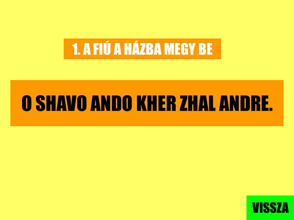 O SHAVO ANDO KHER ZHAL ANDRE.