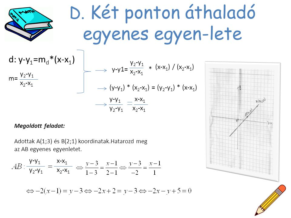 D. Két ponton áthaladó egyenes egyen-lete