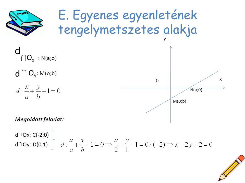 E. Egyenes egyenletének tengelymetszetes alakja