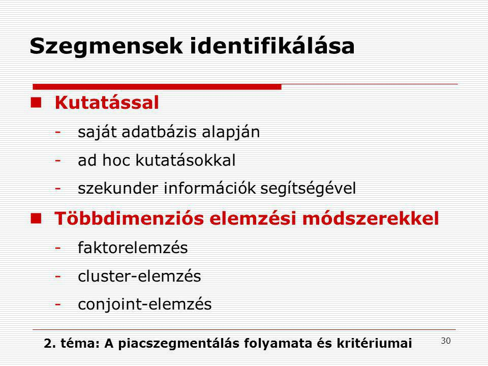 2. téma: A piacszegmentálás folyamata és kritériumai