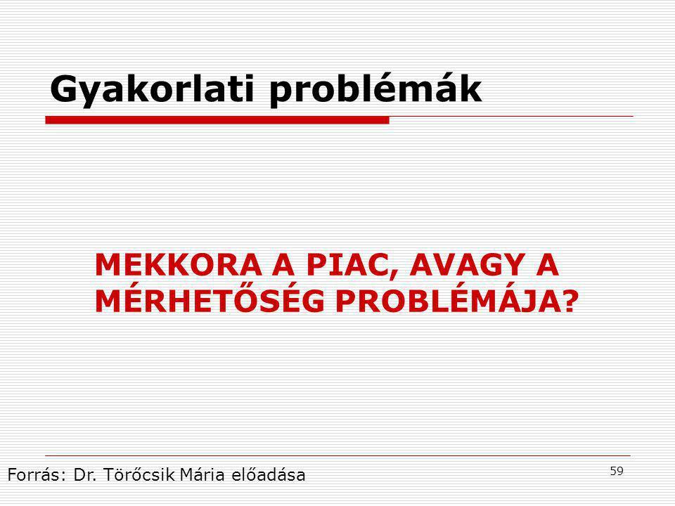 Gyakorlati problémák MEKKORA A PIAC, AVAGY A MÉRHETŐSÉG PROBLÉMÁJA