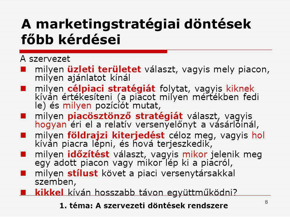 A marketingstratégiai döntések főbb kérdései