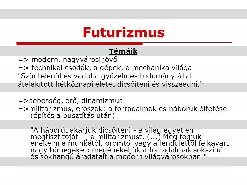Futurizmus Témáik => modern, nagyvárosi jövő