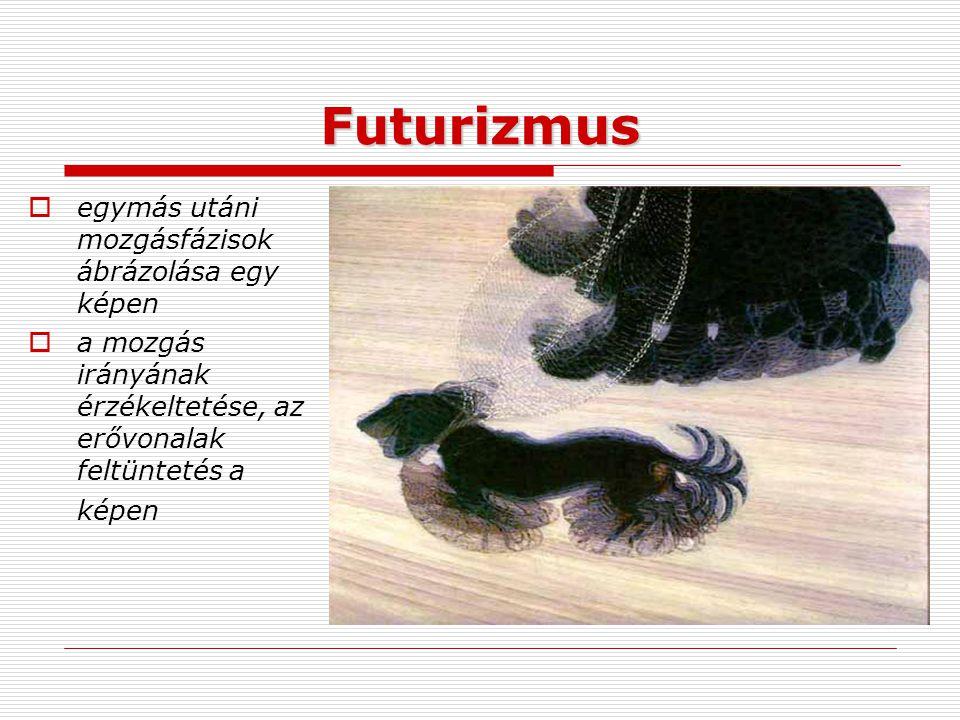 Futurizmus egymás utáni mozgásfázisok ábrázolása egy képen