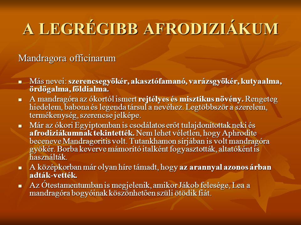 A LEGRÉGIBB AFRODIZIÁKUM