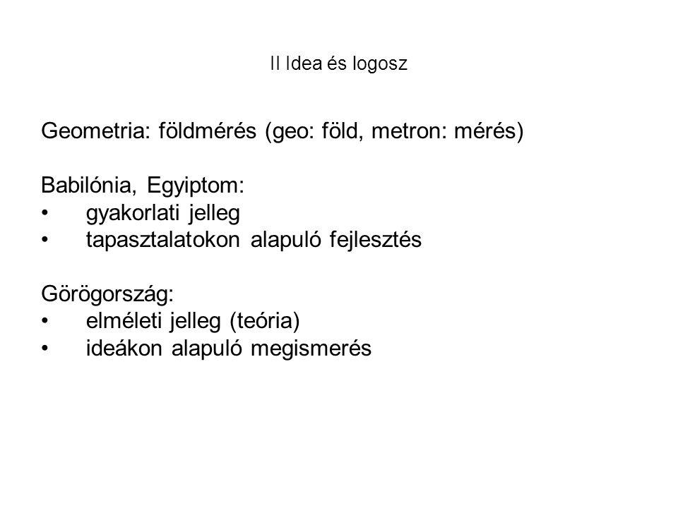 Geometria: földmérés (geo: föld, metron: mérés) Babilónia, Egyiptom:
