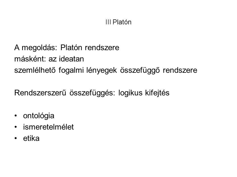 A megoldás: Platón rendszere másként: az ideatan