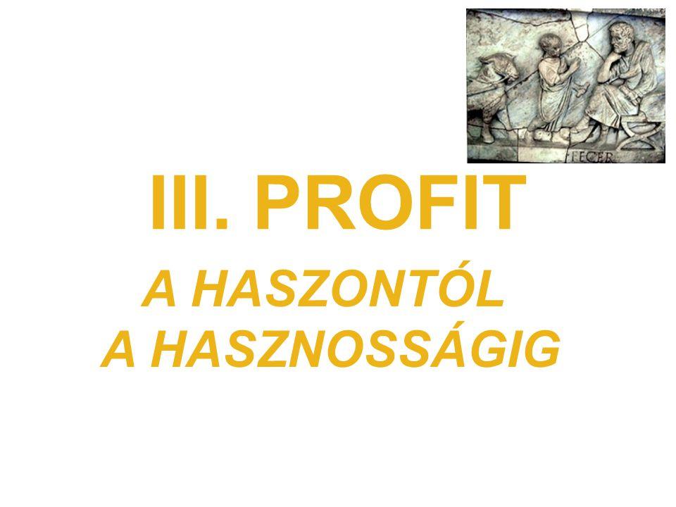 III. PROFIT A HASZONTÓL A HASZNOSSÁGIG