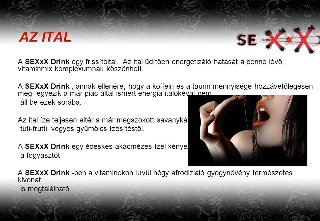 AZ ITAL A SEXxX Drink egy frissítőital. Az ital üdítően energetizáló hatását a benne lévő vitaminmix komplexumnak köszönheti.