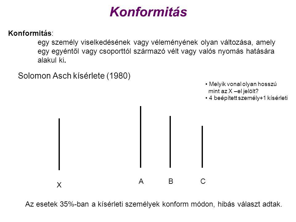 Konformitás Solomon Asch kísérlete (1980) Konformitás: