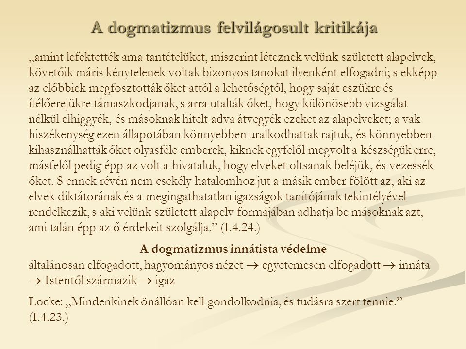 A dogmatizmus felvilágosult kritikája