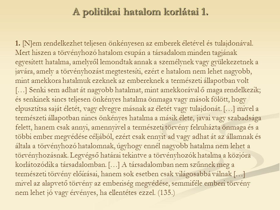 A politikai hatalom korlátai 1.