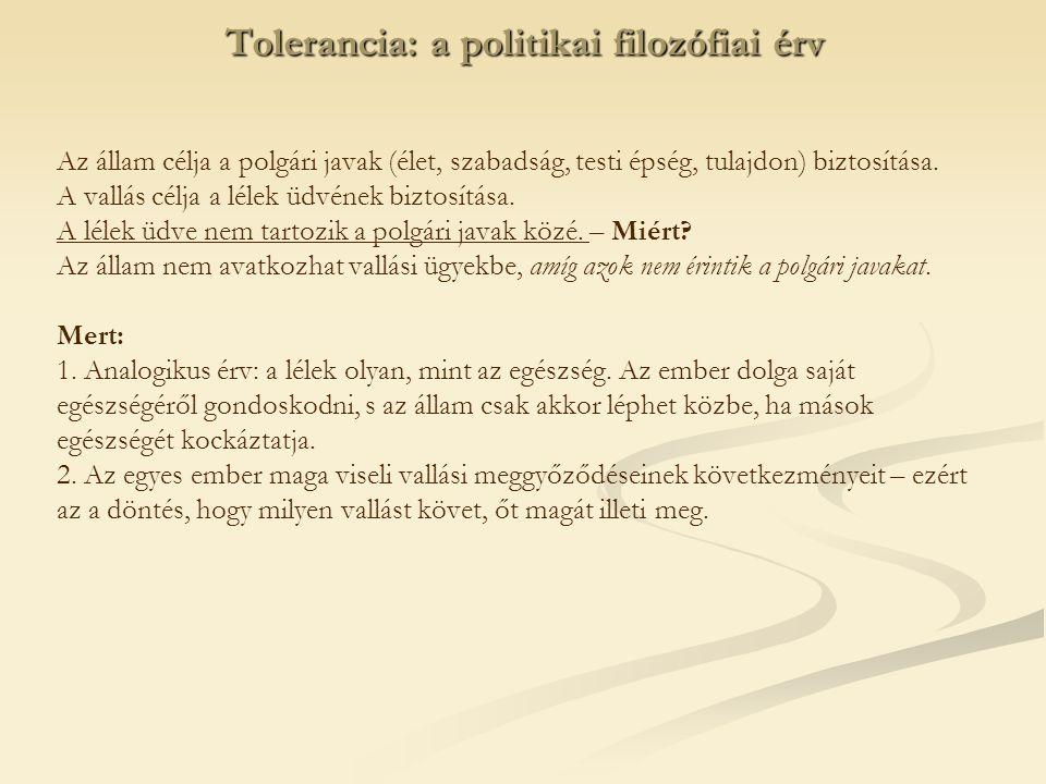 Tolerancia: a politikai filozófiai érv
