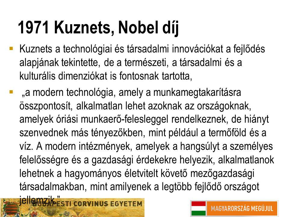 1971 Kuznets, Nobel díj