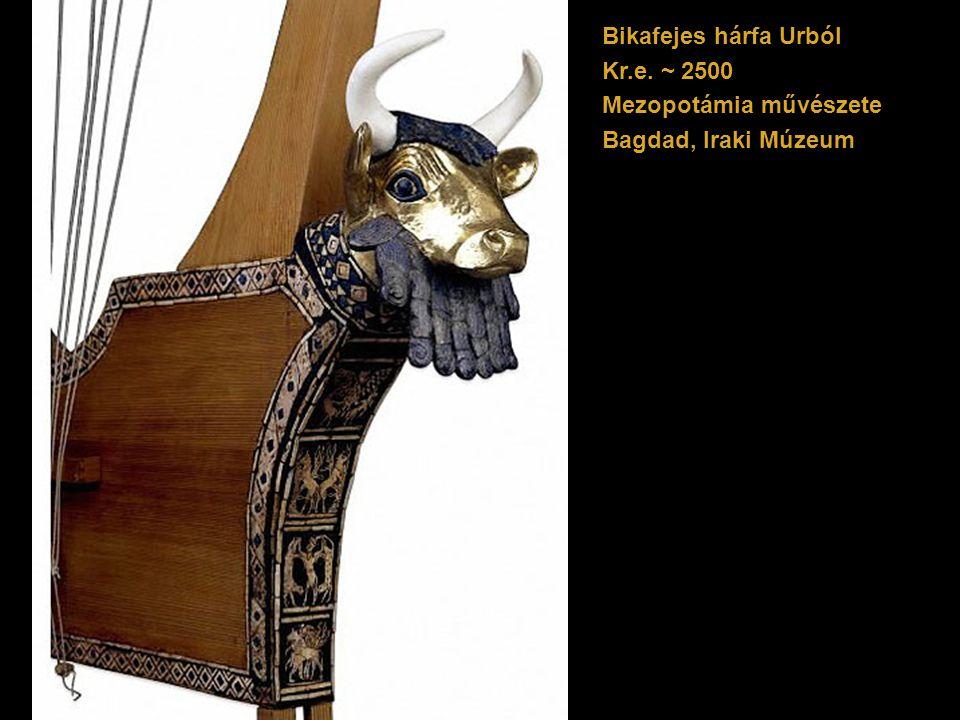 Bikafejes hárfa Urból Kr.e. ~ 2500 Mezopotámia művészete Bagdad, Iraki Múzeum