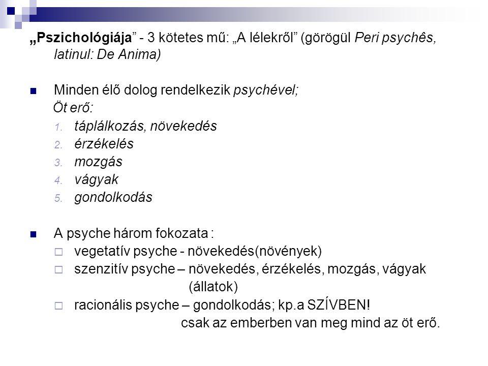 """""""Pszichológiája - 3 kötetes mű: """"A lélekről (görögül Peri psychês, latinul: De Anima)"""