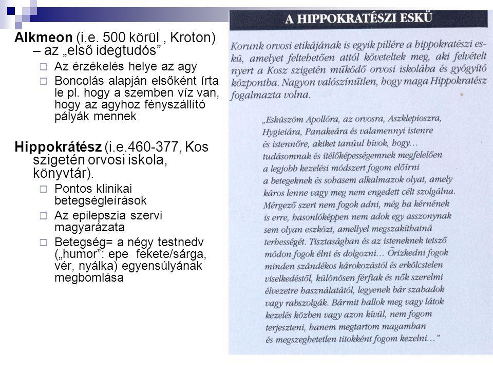 """Alkmeon (i.e. 500 körül , Kroton) – az """"első idegtudós"""
