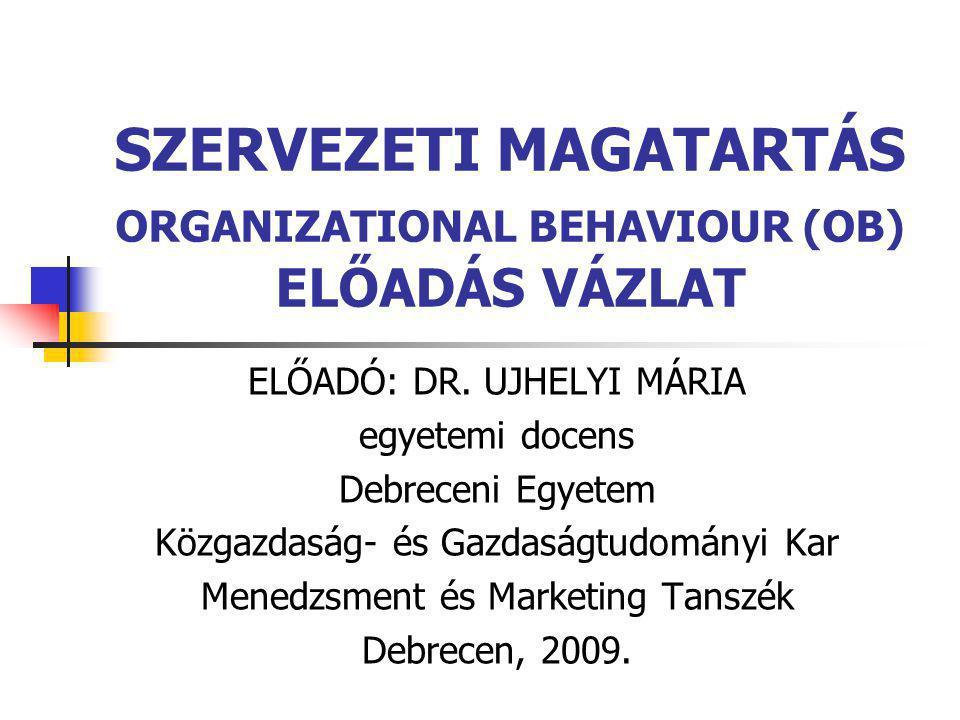 SZERVEZETI MAGATARTÁS ORGANIZATIONAL BEHAVIOUR (OB) ELŐADÁS VÁZLAT