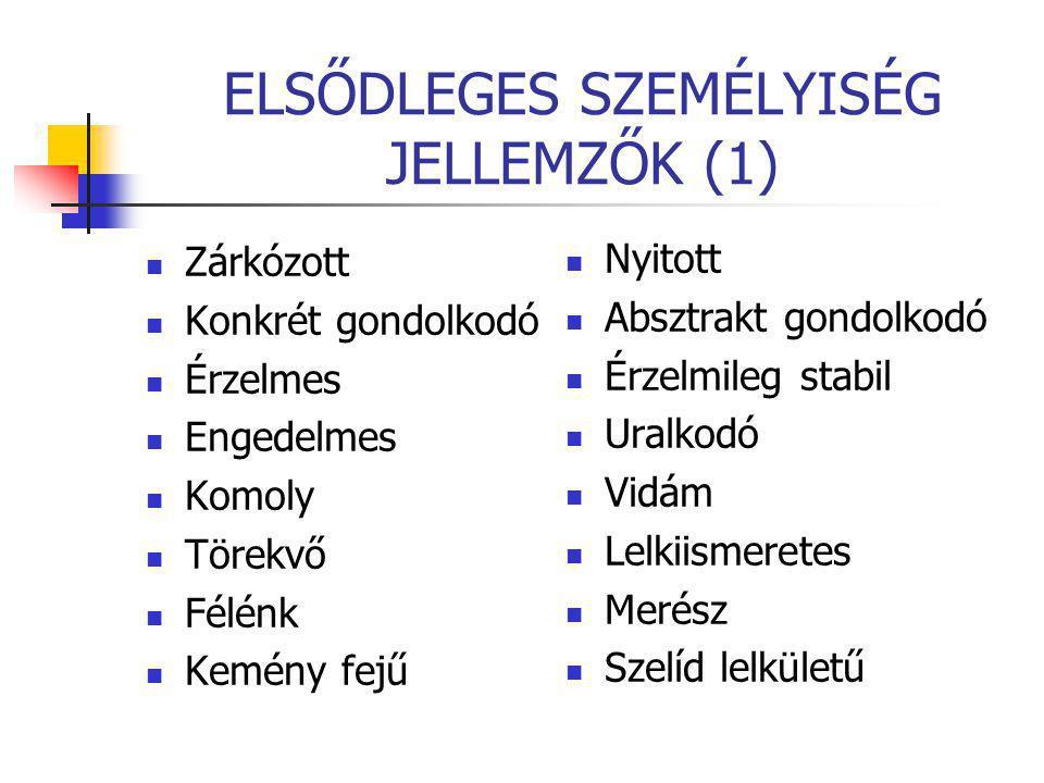 ELSŐDLEGES SZEMÉLYISÉG JELLEMZŐK (1)
