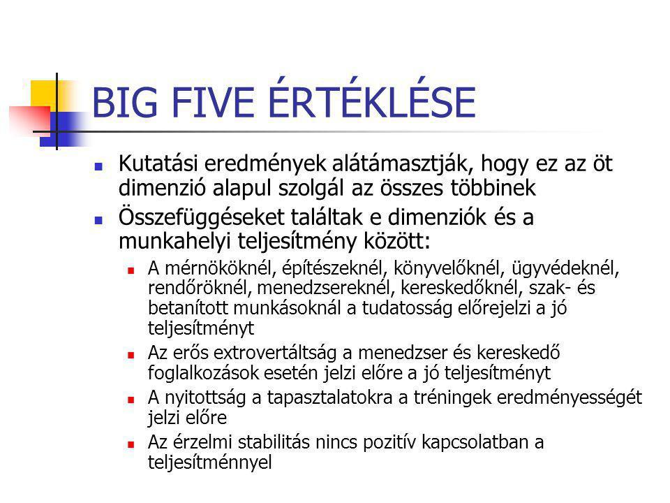 BIG FIVE ÉRTÉKLÉSE Kutatási eredmények alátámasztják, hogy ez az öt dimenzió alapul szolgál az összes többinek.