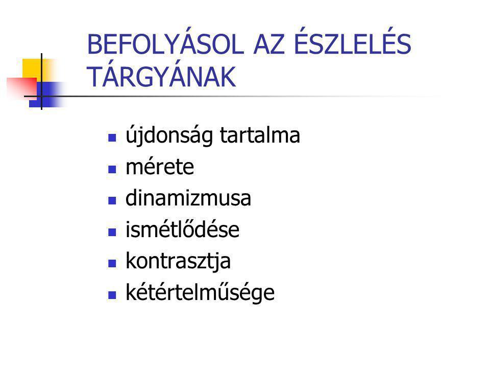 BEFOLYÁSOL AZ ÉSZLELÉS TÁRGYÁNAK