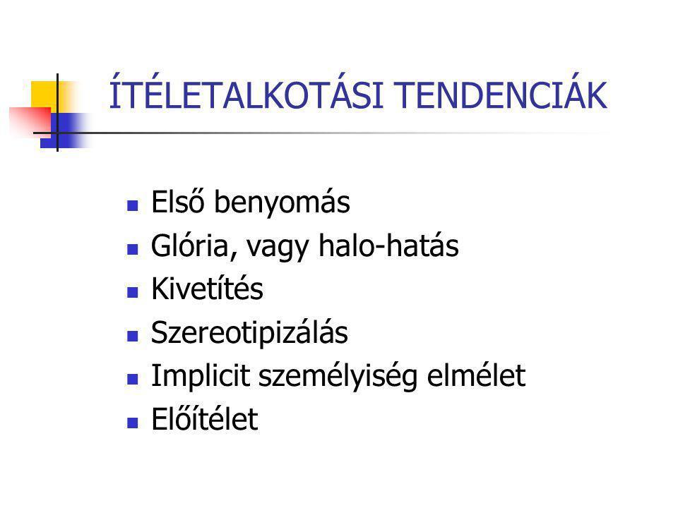 ÍTÉLETALKOTÁSI TENDENCIÁK