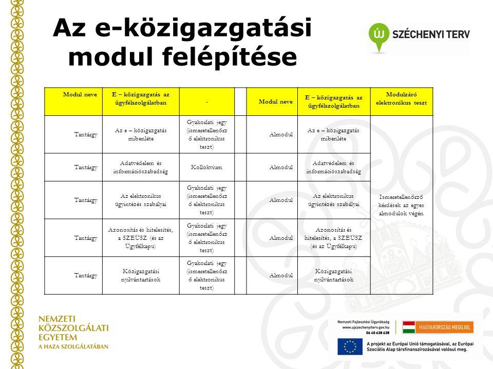 Az e-közigazgatási modul felépítése
