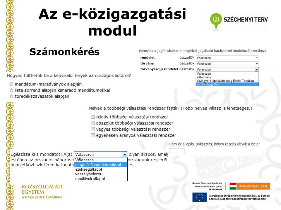 Az e-közigazgatási modul