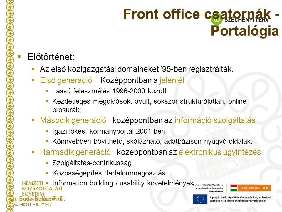 Front office csatornák - Portalógia