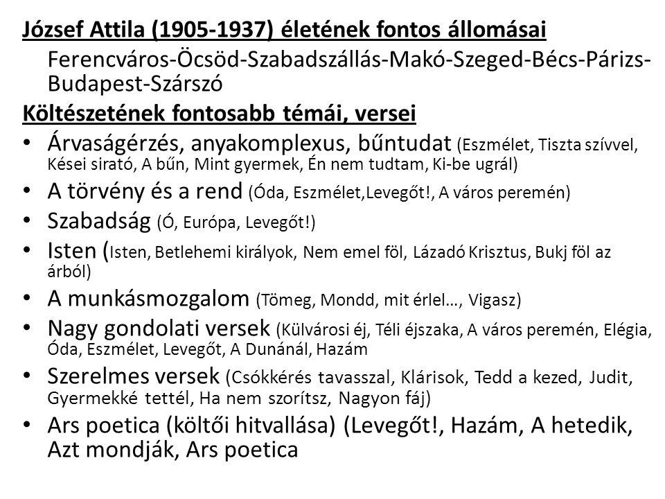 József Attila (1905-1937) életének fontos állomásai
