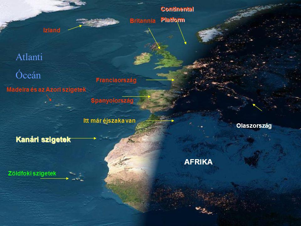 Atlanti Óceán Kanári szigetek AFRIKA Continental Platform Britannia