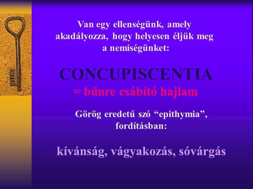CONCUPISCENTIA = bűnre csábító hajlam kívánság, vágyakozás, sóvárgás