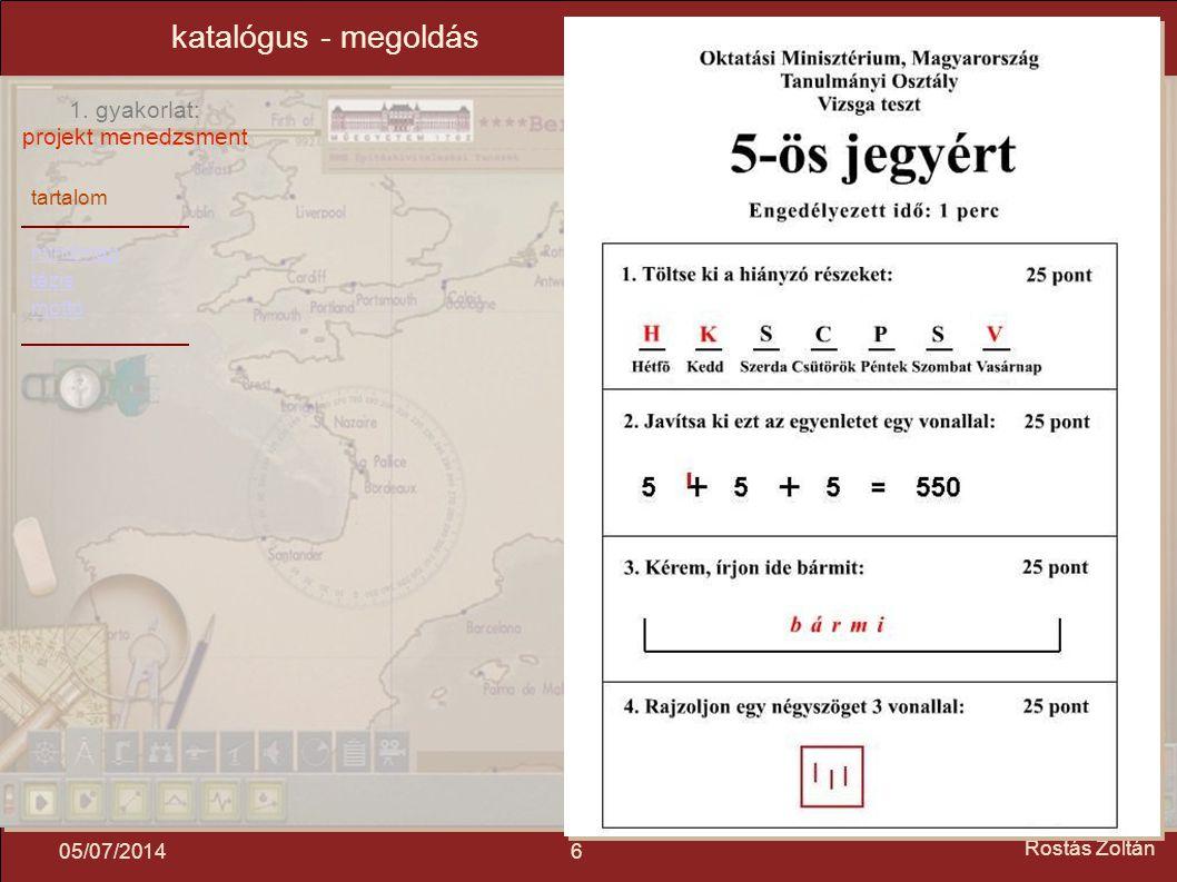 katalógus - megoldás 04/04/2017 Rostás Zoltán