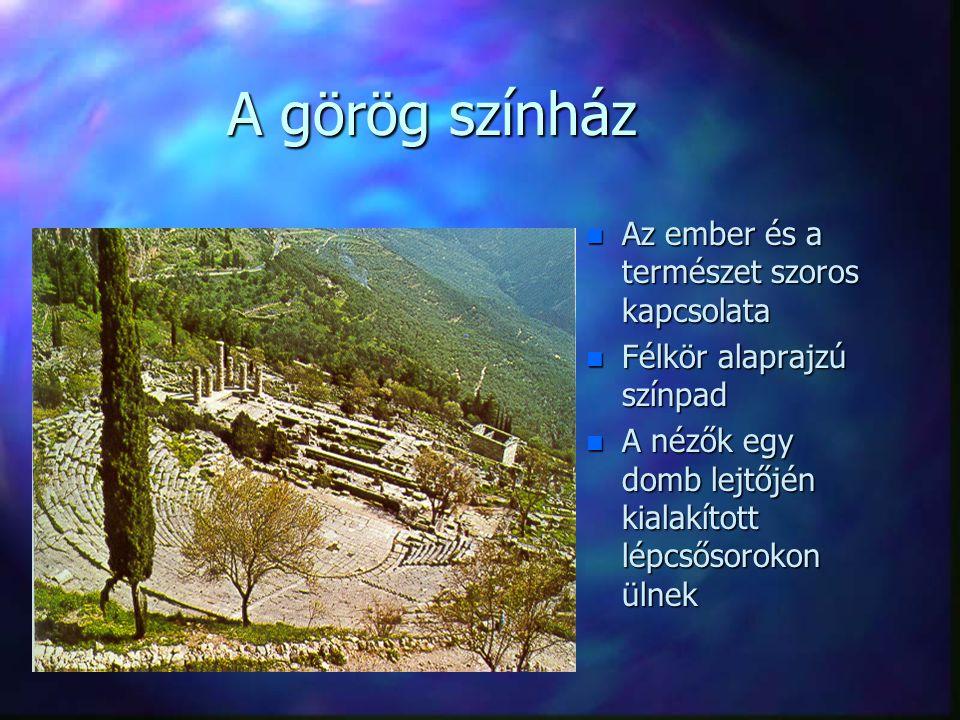 A görög színház Az ember és a természet szoros kapcsolata
