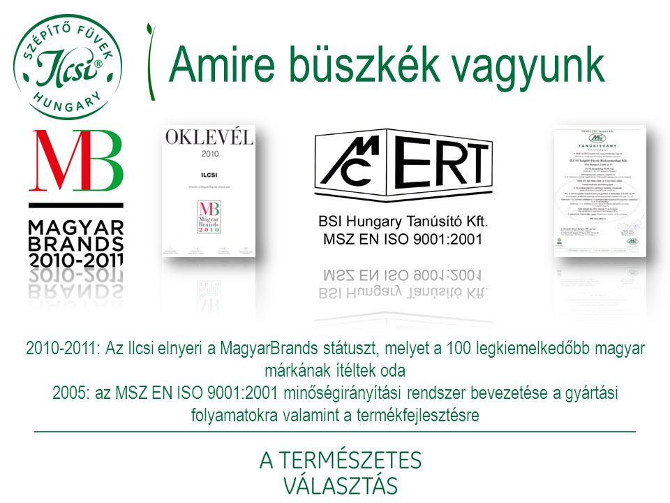 Amire büszkék vagyunk 2010-2011: Az Ilcsi elnyeri a MagyarBrands státuszt, melyet a 100 legkiemelkedőbb magyar márkának ítéltek oda.