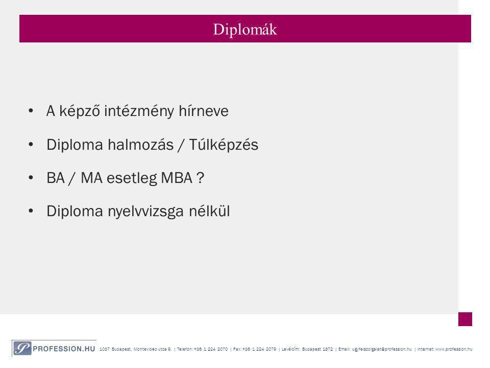 Diplomák A képző intézmény hírneve. Diploma halmozás / Túlképzés.