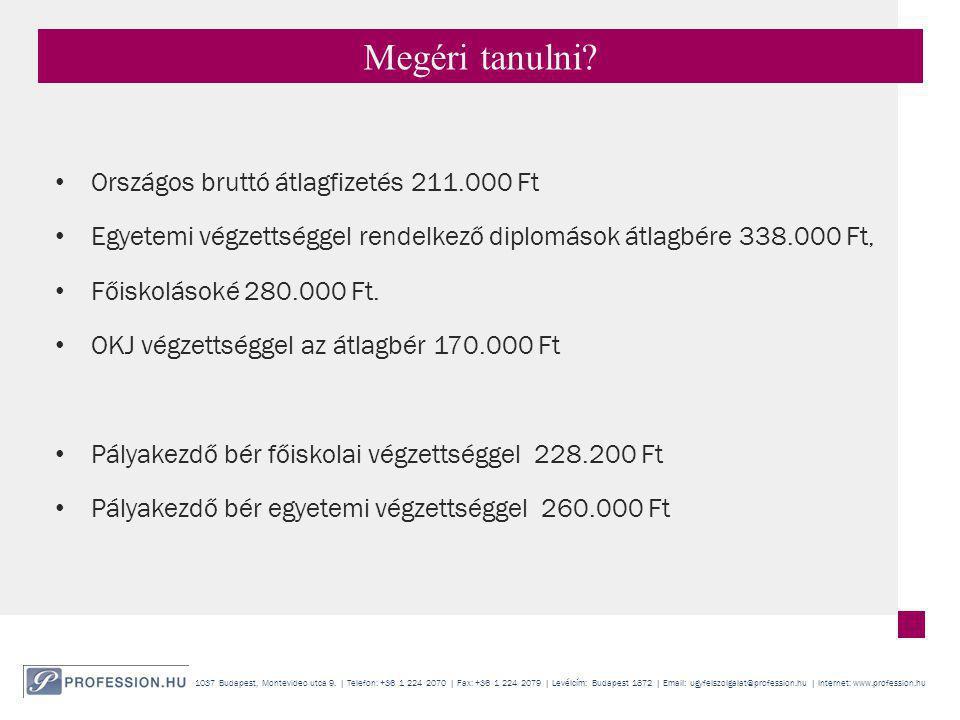 Megéri tanulni Országos bruttó átlagfizetés 211.000 Ft