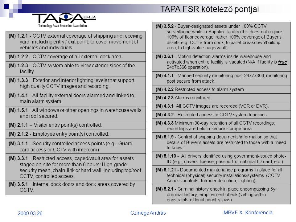 TAPA FSR kötelező pontjai