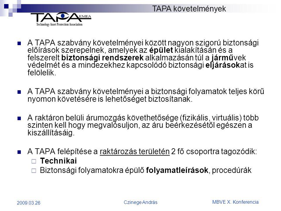 A TAPA felépítése a raktározás területén 2 fő csoportra tagozódik: