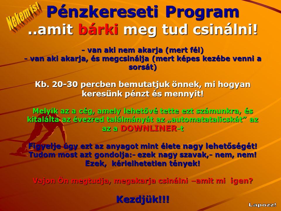 Pénzkereseti Program Nekem is! ..amit bárki meg tud csinálni! Lapozz!