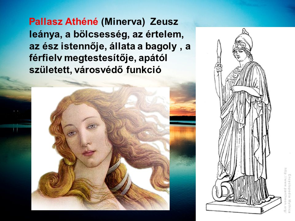 Pallasz Athéné (Minerva) Zeusz leánya, a bölcsesség, az értelem, az ész istennője, állata a bagoly , a férfielv megtestesítője, apától született, városvédő funkció