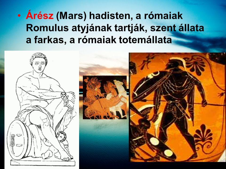 Árész (Mars) hadisten, a rómaiak Romulus atyjának tartják, szent állata a farkas, a rómaiak totemállata