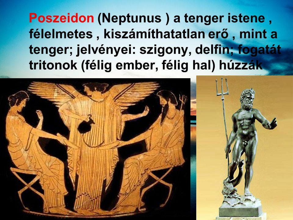 Poszeidon (Neptunus ) a tenger istene , félelmetes , kiszámíthatatlan erő , mint a tenger; jelvényei: szigony, delfin; fogatát tritonok (félig ember, félig hal) húzzák