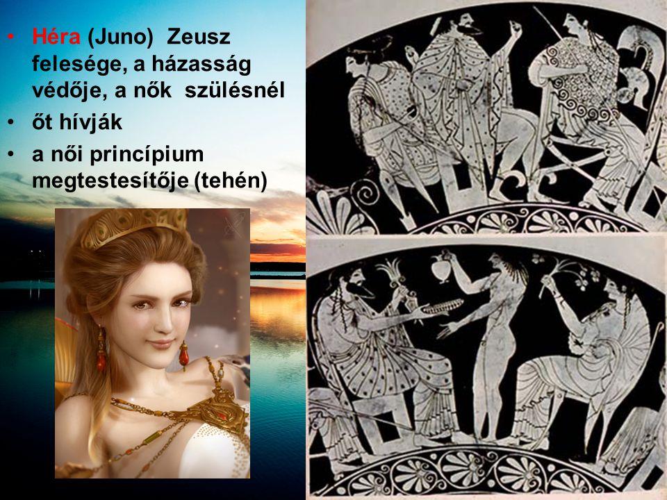 Héra (Juno) Zeusz felesége, a házasság védője, a nők szülésnél