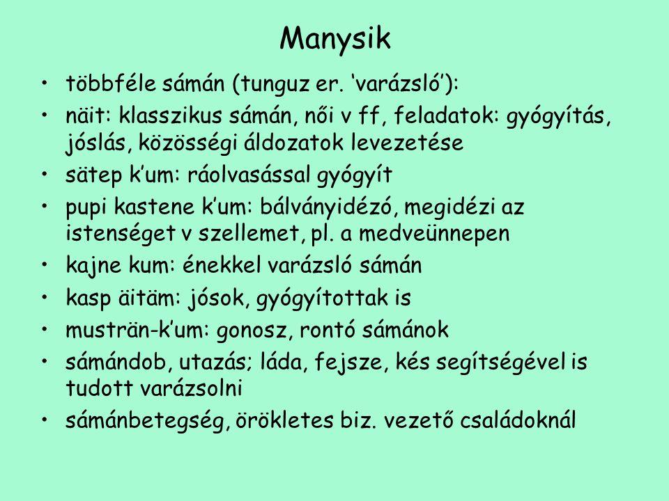 Manysik többféle sámán (tunguz er. 'varázsló'):